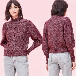 Rebecca Taylor Tweed Cable Puff Sleeve Sweater